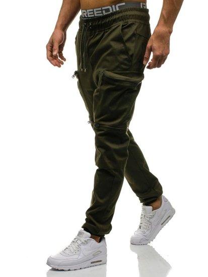 Spodnie joggery bojówki męskie zielone Denley 0475