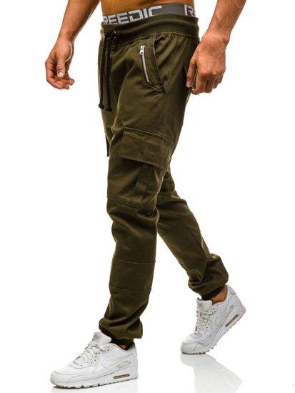 Spodnie joggery bojówki męskie zielone Denley 0707