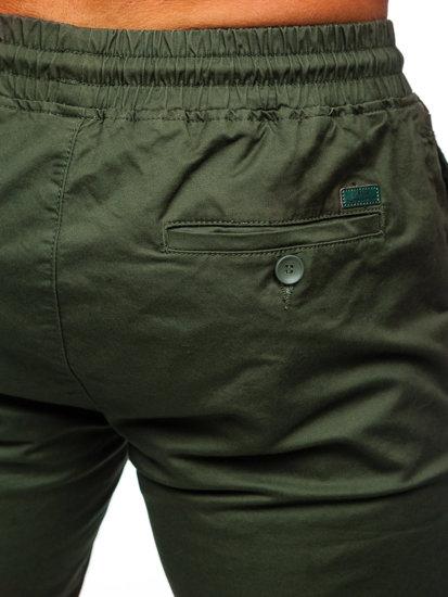 Spodnie joggery męskie ciemnozielone Denley KA951