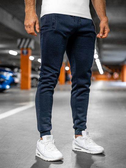 Spodnie męskie dresowe atramentowe Denley XW01-A