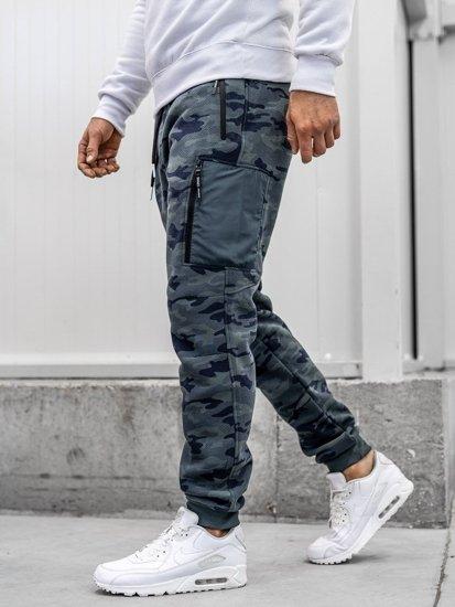 Spodnie męskie dresowe baggy moro-multikolor Denley 3769H