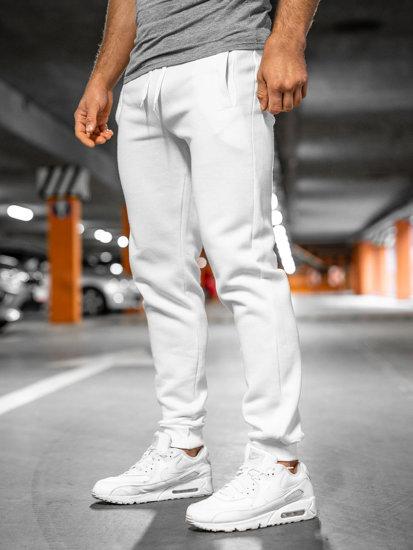Spodnie męskie dresowe białe Denley XW01-A