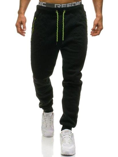 Spodnie męskie dresowe czarne Denley 1930