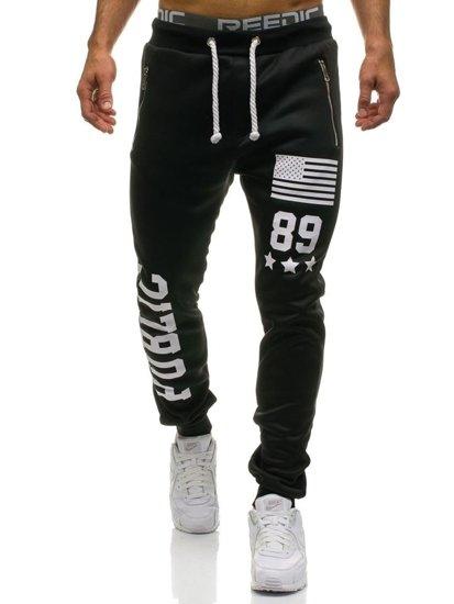 Spodnie męskie dresowe czarne Denley 871