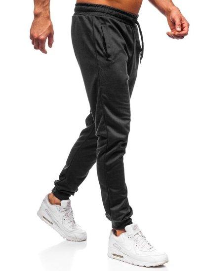 Spodnie męskie dresowe czarne Denley JZ11001