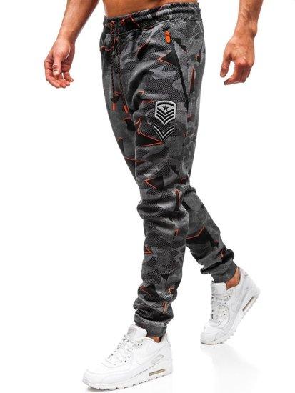 Spodnie męskie dresowe joggery czarne Denley Q3850