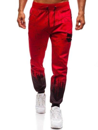 Spodnie męskie dresowe joggery czerwone Denley HM008
