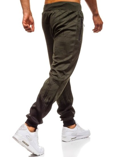 Spodnie męskie dresowe zielone Denley HM008
