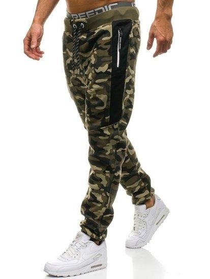 Spodnie męskie dresowe moro-zielone Denley QN271