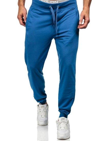 Spodnie męskie dresowe niebieskie Denley 7053