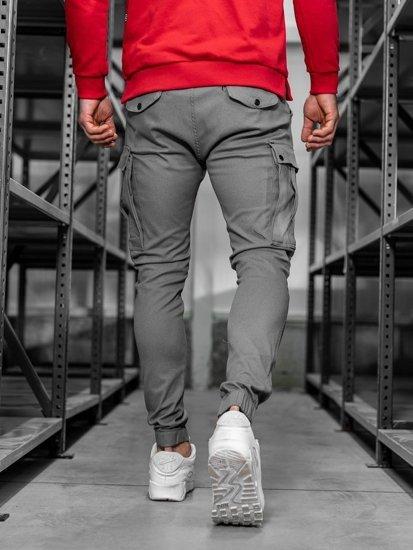 Spodnie męskie joggery bojówki grafitowe Denley 1005