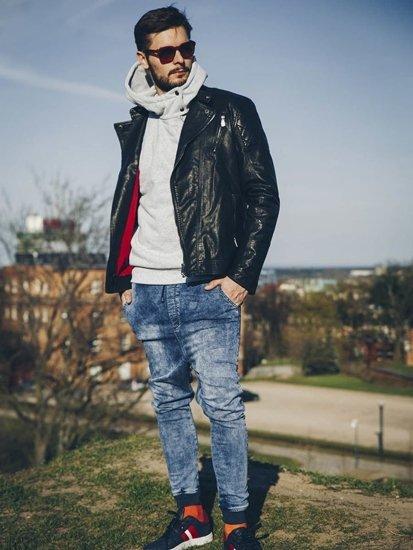 Stylizacja nr 221 - kurtka skórzana, bluza z kapturem, spodnie baggy, buty sportowe