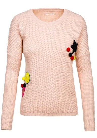 Sweter damski różowy Denley 1551