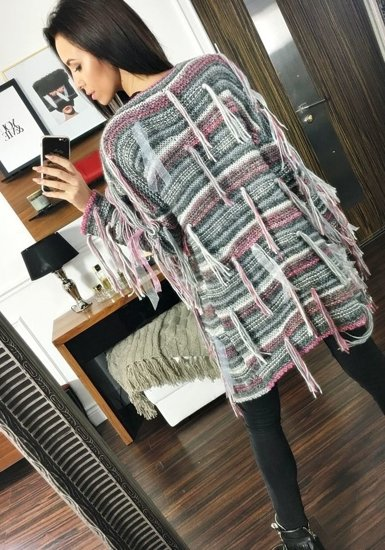 Sweter kardigan damski antracytowy Denley 01