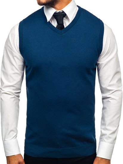 Sweter męski bez rękawów indygo Denley 2500