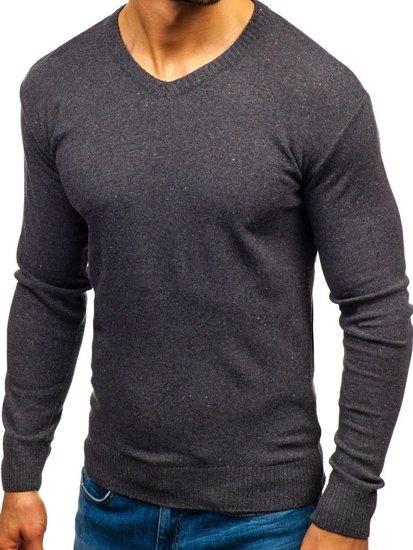 Sweter męski w serek antracytowy Bolf 6002