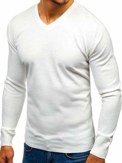 Sweter męski w serek biały Denley 2200