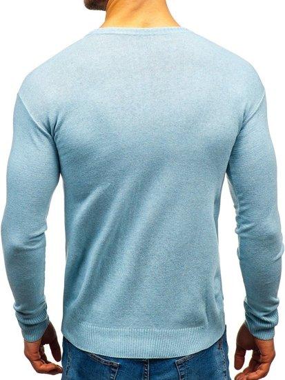 Sweter męski w serek błękitny Bolf 6002