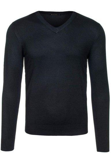 Sweter męski w serek czarny Denley 001