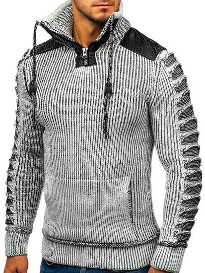 Sweter męski ze stójką szaro-czarny Denley 20013