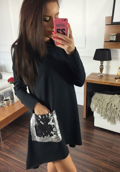 Sweter tunika damska czarny Denley 02