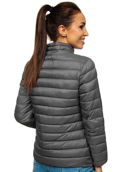 Szara pikowana kurtka damska przejściowa Denley 20311