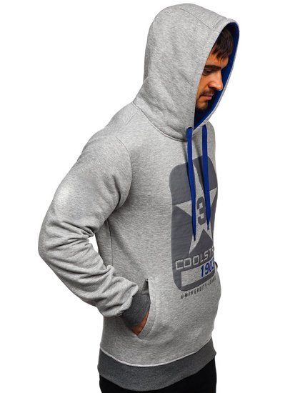 Szara z nadrukiem bluza męska z kapturem Denley Y10001