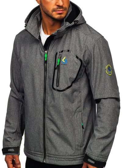 Szaro-zielona kurtka męska przejściowa softshell Denley AB006