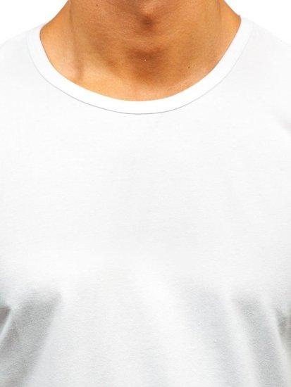 T-shirt męski bez nadruku biały Denley T1279