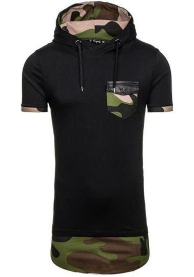 T-shirt męski bez nadruku czarny Denley 0479