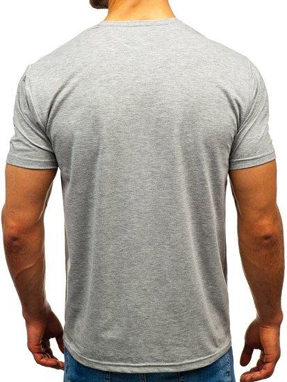T-shirt męski bez nadruku w serek szary Denley 172010-A