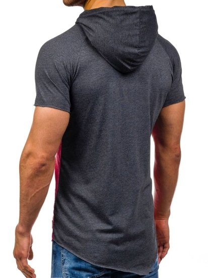 T-shirt męski bez nadruku z kapturem antracytowo-czerwony Denley 1103