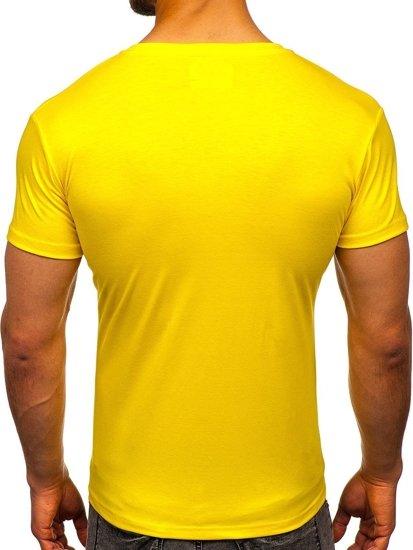 T-shirt męski bez nadruku żółty-neon Denley 2005
