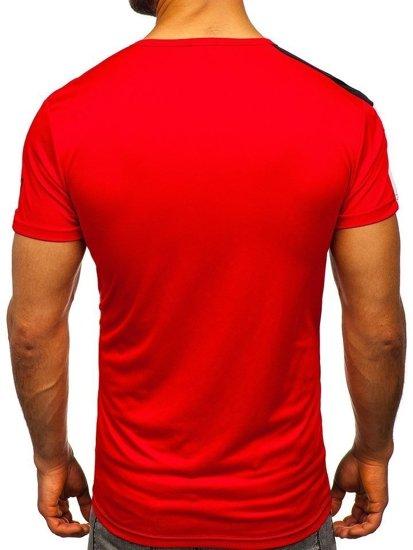 T-shirt męski treningowy z nadrukiem czerwony Denley SS10996