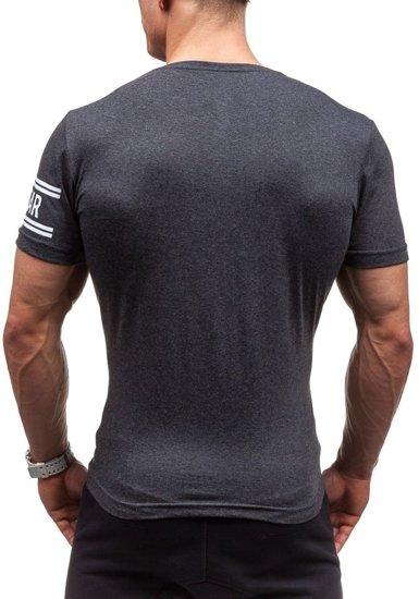 T-shirt męski z nadrukiem antracytowy Denley cmr20