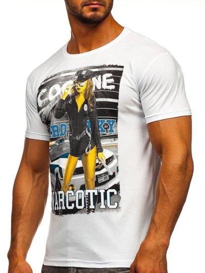 T-shirt męski z nadrukiem biały Denley 004