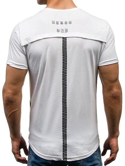 T-shirt męski z nadrukiem biały Denley 035