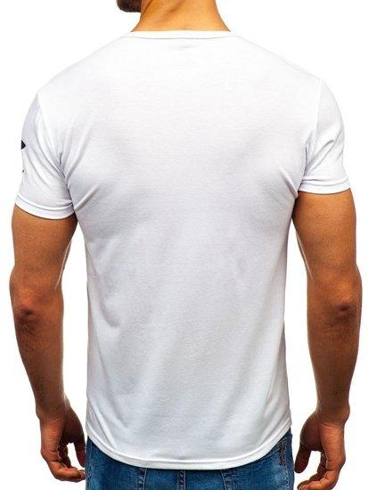 T-shirt męski z nadrukiem biały Denley 100729