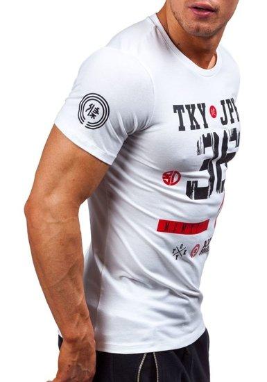 T-shirt męski z nadrukiem biały Denley 1927