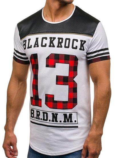 T-shirt męski z nadrukiem biały Denley 2062