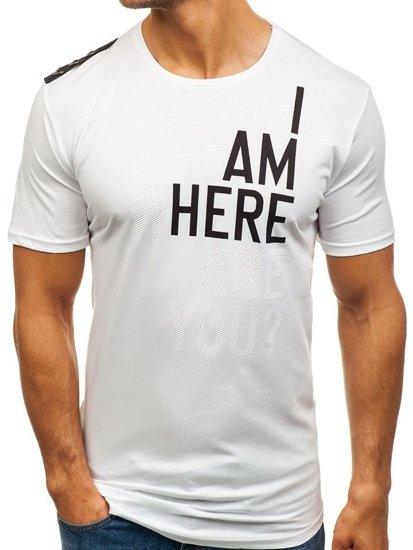 T-shirt męski z nadrukiem biały Denley 368