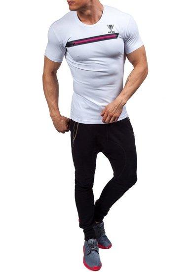 T-shirt męski z nadrukiem biały Denley 5118