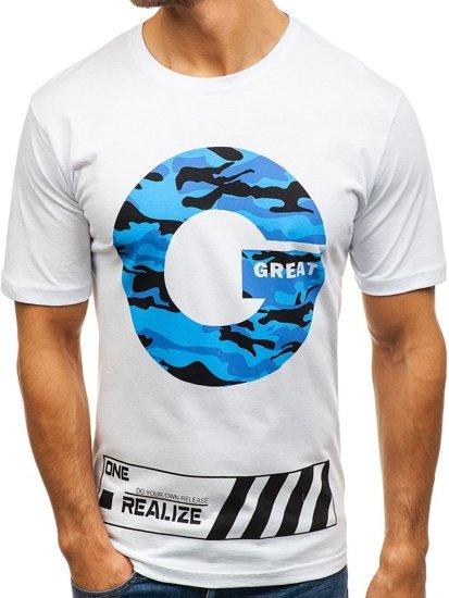 T-shirt męski z nadrukiem biały Denley 6299