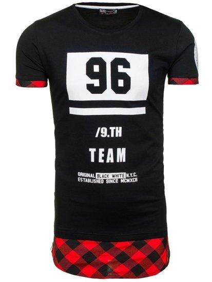 T-shirt męski z nadrukiem czarno-czerwony Denley 1094