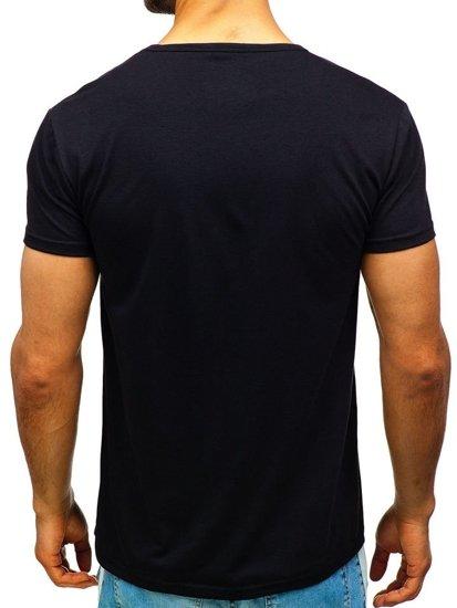 T-shirt męski z nadrukiem czarny Denley 100683
