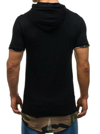 T-shirt męski z nadrukiem czarny Denley 1055
