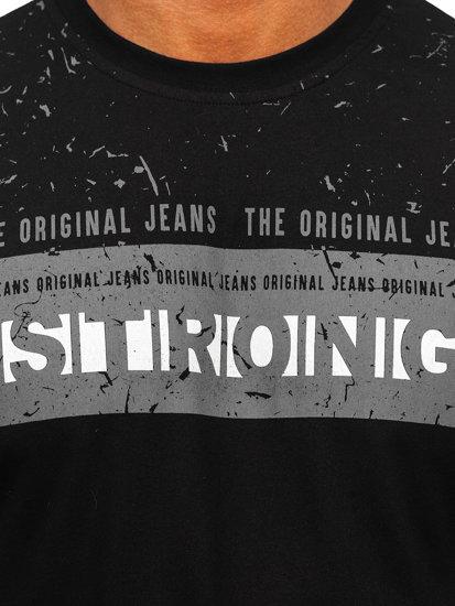T-shirt męski z nadrukiem czarny Denley 14204