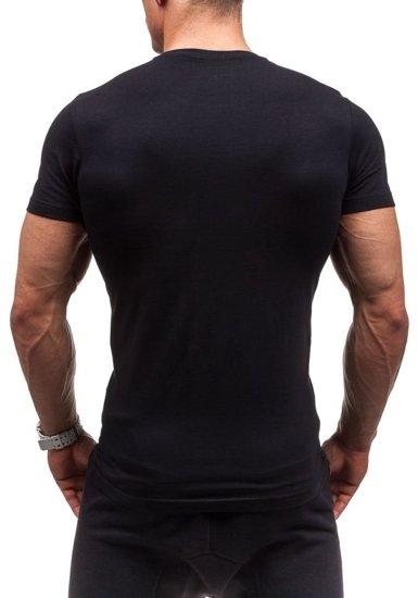 T-shirt męski z nadrukiem czarny Denley 1929