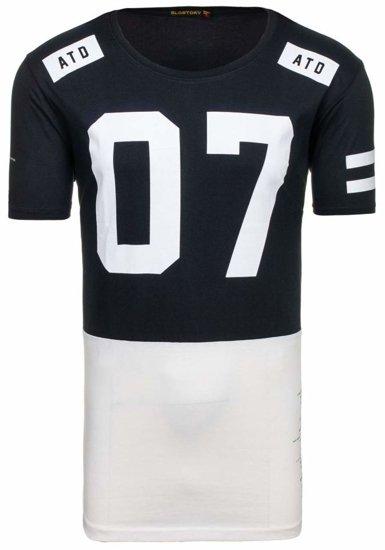T-shirt męski z nadrukiem czarny Denley 1942