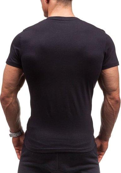 T-shirt męski z nadrukiem czarny Denley 2017